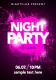 Vector illustration dance party poster background template with splash and ink splatter effects. In modern pink and violet colors. Music event flyer or abstract Royalty Free Stock Photos