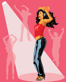 Vector illustration of dancing girl. Royalty Free Stock Photos