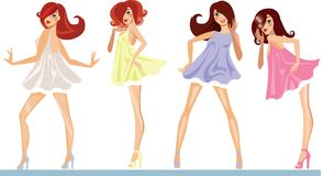 Dancing girls in different color dress, vector illustration of cute fashion girl. Vector illustration of dancing girls in different color dress, vector royalty free illustration