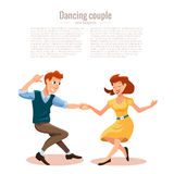 Vector illustration of dancing men and woma Stock Photography