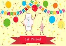 Vector illustration of dancing menstrual pad and tampon. Menstruation period and feminine hygiene products. First girl menstruatio. N party time. Celebrating vector illustration