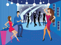Dance-nightclub-and-bar. Vector illustration with dancing in night club Royalty Free Stock Photography