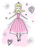 Dancing princess in a pink dress. Stock Photo