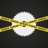 Vector illustration danger tape harp circular saw Stock Image