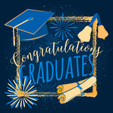 Vector illustration on dark background congratulations graduates 2016 class of, color design for the graduation party. Vector illustration on black background Royalty Free Stock Images