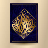 Vector illustration. Dark blue banner with a golden pattern. Pos. Tcard with abstract fire. Poster Royalty Free Stock Photo