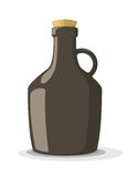 Vector illustration of dark bottle with cork Royalty Free Stock Photography