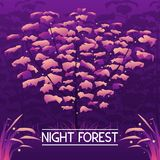 Dark mystic violet forest background. Vector illustration of dark mystic violet forest with grass and fireflies Stock Photography