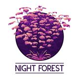 Dark mystic violet forest logo. Vector illustration of dark mystic violet forest logo with grass and fireflies Royalty Free Stock Photo