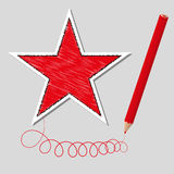 Vector illustration dashed star and pencil Stock Images