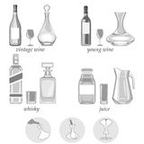 Vector illustration. decanters-their types,purpose  Stock Image