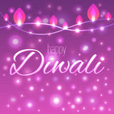 Vector illustration of decorated background for Diwali with light garlands. Happy Diwali card Stock Photo
