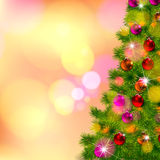 Vector illustration of decorated Christmas tree realistic illustration Stock Photo