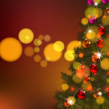 Vector illustration of decorated Christmas tree realistic illustration Stock Images