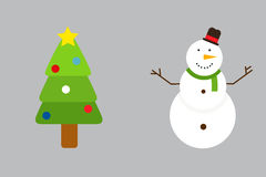Vector illustration of decorated Christmas tree and snowman. Vector illustration of decorated Christmas tree and snowman festive cold nature. Traditional bauble Stock Image
