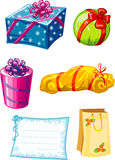 Vector illustration of decorated colorful gifts  Royalty Free Stock Photography