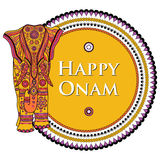 Vector illustration of decorated elephant for Happy Onam Royalty Free Stock Images