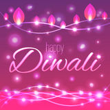 Vector illustration of decorated lighted background for Diwali. Happy Diwali card Royalty Free Stock Photography