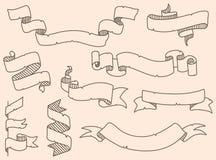 Vector illustration of decoration drowning ribbon set Stock Photos