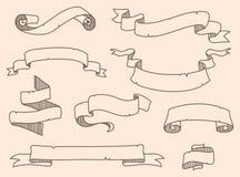 Vector illustration of decoration drowning ribbon set Stock Photo
