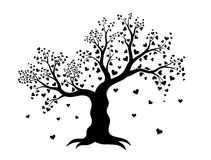 Vector illustration of decorative abstract tree with hearts in black color Stock Photo