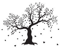 Vector illustration of decorative, abstract tree with hearts and couple of birds in black color Stock Images