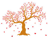 Vector illustration of decorative, abstract tree with red hearts and two birds Royalty Free Stock Images