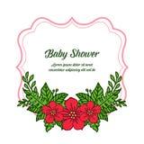 Vector illustration decorative of card baby shower for cute red flower frames vector illustration