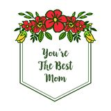 Vector illustration decorative of card best mom with cute colorful wreath frames vector illustration