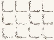 Vector illustration of decorative corner frame set. Frame and line vintage style vector illustration