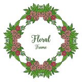 Vector illustration decorative frames flower red and pink vector illustration