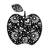 Vector illustration of decorative ornamental black apple with leaf, on the white background. Series of Fruits and Vegetables Illustrations stock illustration