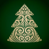 Vector illustration decorative ornamental Christmas tree. Symbol Royalty Free Stock Image