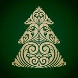 Vector illustration decorative ornamental Christmas tree Royalty Free Stock Image