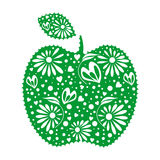 Vector illustration of decorative ornamental green apple with leaf, isolated on the white background. Stock Photos