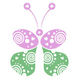 Vector illustration of decorative ornamental green and pink butterfly isolated on the white background. Stock Photos