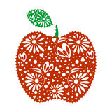 Vector illustration of decorative ornamental red apple with leaf, isolated on the white background. Royalty Free Stock Photo
