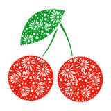 Vector illustration of decorative ornamental red cherry with leaf, isolated on the white background. Stock Image
