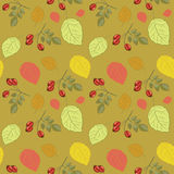 Vector illustration of decorative rose hips and leaves seamless pattern. Hand drawn red rose hips and autumn leaves seamless pattern. Green background stock illustration