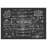 Vector Illustration of Decorative Vintage Chalkboard Elements Stock Image