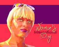 Portrait of a young attractive blonde woman. Vector illustration dedicated to Womens International Day in the style of a low polygon.Portrait of a young vector illustration