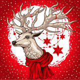 Vector illustration deer head with antlers decorated  Christmas garland  stars Royalty Free Stock Photo
