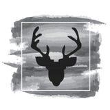Vector illustration of deer silhouette. Watercolor design. Black Stock Photo