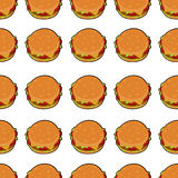 vector illustration of delicious burger. Pattern with delicious burger  with meat, cheese, tomatoes and salat for poster, menus, brochure, web fast food Royalty Free Stock Photo