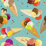 Delicious ice cream in cones with waffle heart. seamless pattern. Vector illustration on light blue background Stock Photography