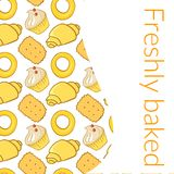 Vector illustration delicious pastries in doodle Stock Photos