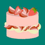 Vector illustration of delicious strawberry cake Stock Photos