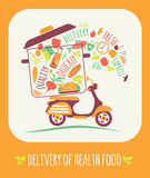 Vector illustration of Delivery of a healthy food. Stock Photo