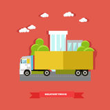 Vector illustration of delivery truck, road vehicle in flat style. Delivery service concept vector illustration in flat style. Delivery truck, road vehicle vector illustration