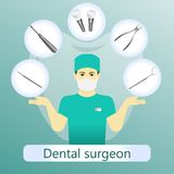 Vector illustration of dental surgeon with defferent dental instruments o vector illustration